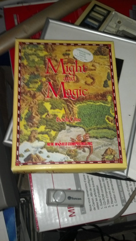 A boxed copy of Might and Magic